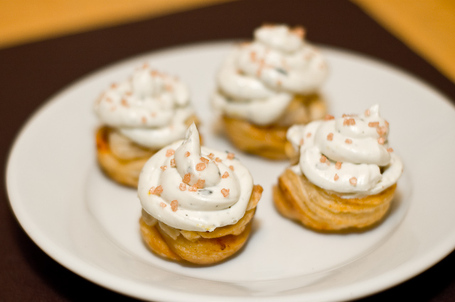 Caramelized Pear Cupcakes With Blue Cheese Frosting