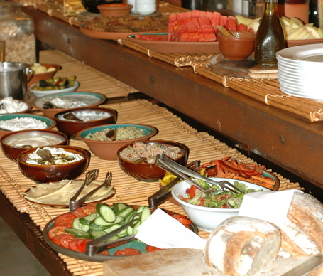 Breakfast Buffet At Vered Hagalil Guest Ranch near the Sea of Galilee