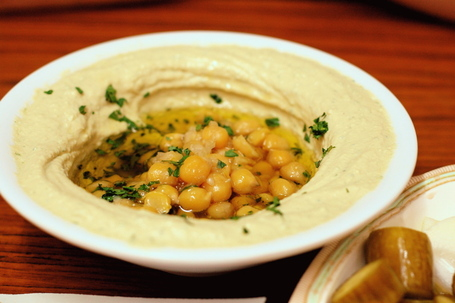 Hummus with Chickpeas at Abu Shukri in the Old City of Jerusalem