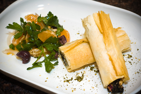 Phyllo Wrapped Feta and Chard with a Citrus and Olive Salad