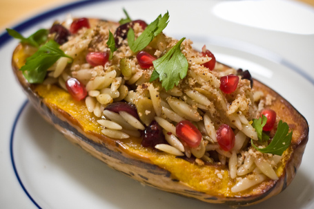 Delicata Squash Stuffed with Orzo in a Sage Brown Butter Sauce
