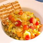 Lemongrass Corn Saute With Grilled Tofu and Quinoa