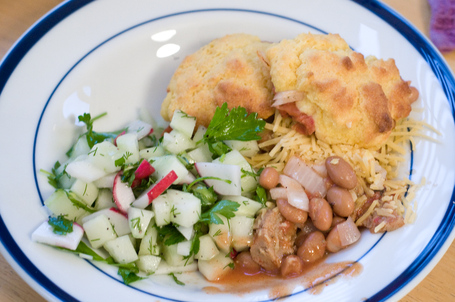 Veggie Chili Beans with Cornbread Dumplings