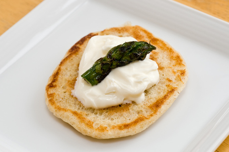 Blin With Creme Fraiche and Roasted Asparagus