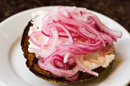 Bagel and Cream Cheese with Pickled Onions