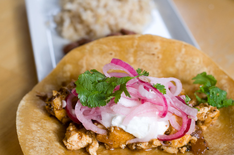 Adobo Tofu Taco with Pickled Onions