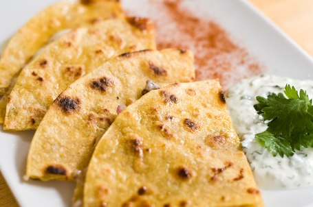 Crispy Quesadilla with Pecorino and Onion & Garlic Jam