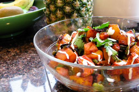 Grilled butternut squash taco filling