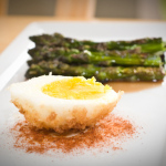 Recipe: Panko-Crusted Egg With Cherry Smoked Asparagus, Smoked Paprika, And Sherry Gastrique