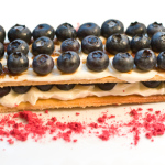 Blueberry Napoleon with Crème Fraîche and Raspberry Powder