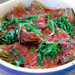 Braised Artichokes in a Tomato-Red Wine Sauce – Recipe