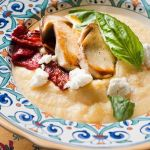 Polenta with Pan Roasted Porcini, Tomato Confit and Chevre – Recipe