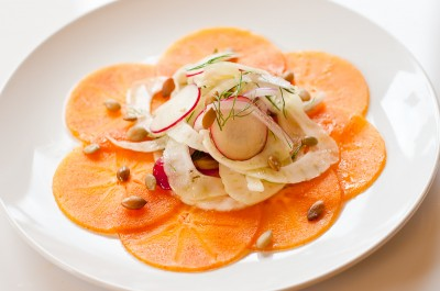 Persimmon Carpaccio with Fennel Salad and Pepitas