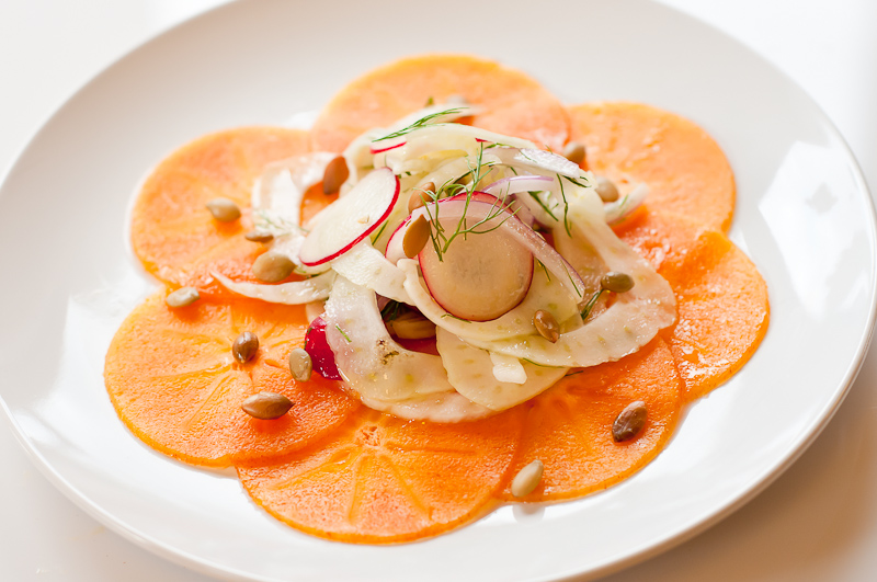 Persimmon Carpaccio with Fennel Salad - Recipe | Herbivoracious ...