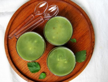 Stinging nettle soup made in the pressure cooker