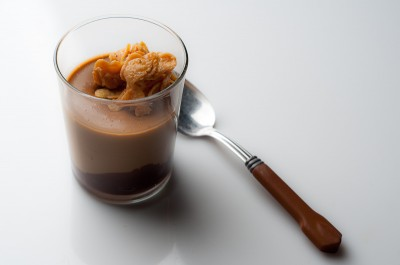 Butterscotch Pudding with Chocolate Ganache and Caramelized White Chocolate Crispies