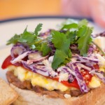 Mexican Torta with Refried Black Beans and Roasted Poblano Pepper – Video Recipe