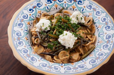 Orecchiette with Garlic Scapes, Ricotta, and Gremolata
