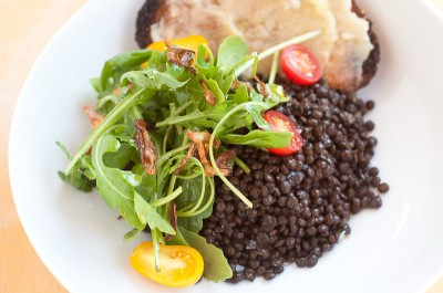 Black Lentils with Arugula and Crispy Shallots
