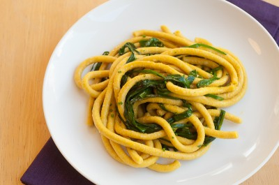 Turmeric Bucatini with Garlic Chives