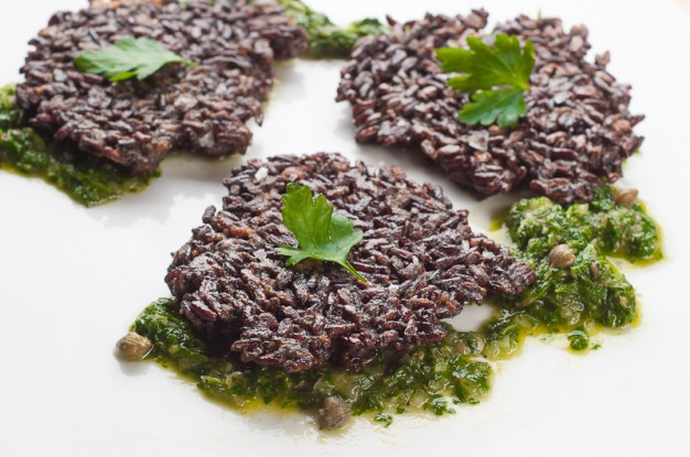 Black Rice Fritters with Chimichurri