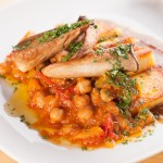 Pan-Fried Polenta with Chickpea Stew, King Oyster Mushrooms and Fig Puree