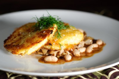 Crisp Polenta Cakes with Braised Cabbage and Beans