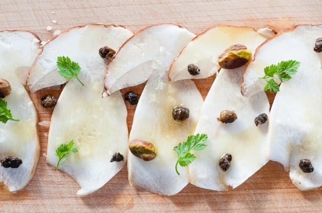 Porcini Crudo with Clementine Oil