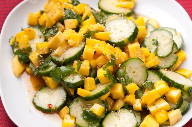 Cucumber and Mango Salad with Sweet Chili Dressing – Recipe ...