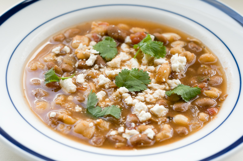 Vegetarian pozole / posole de frijol; hearty Mexican stew with hominy and beans