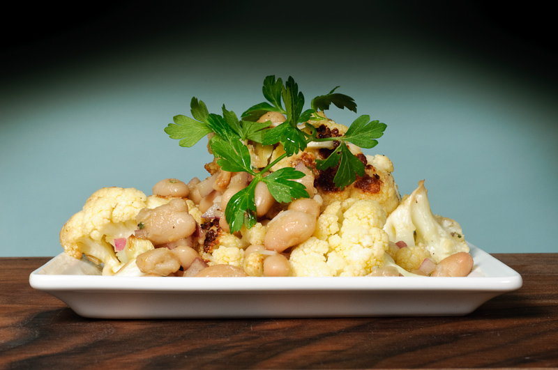 Roasted cauliflower salad with white beans