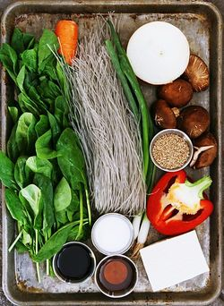 Japchae ingredients