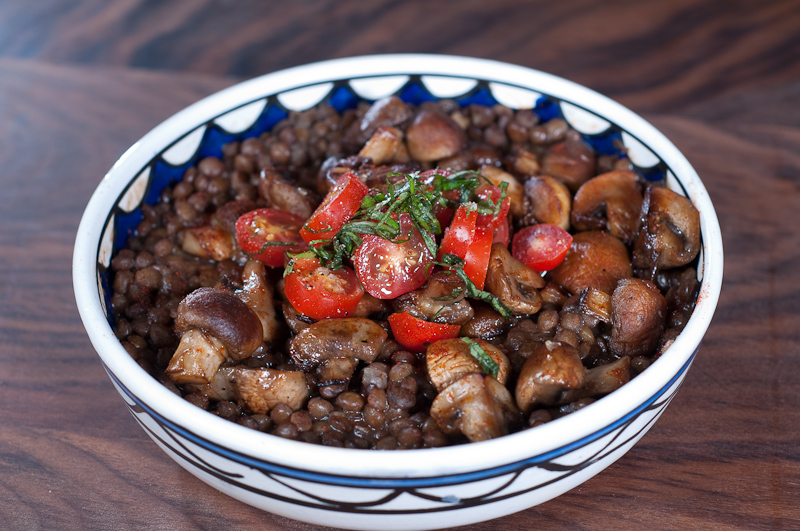 Spanish lentils and mushrooms