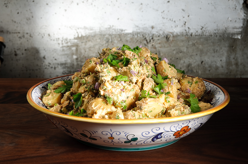 Potato salad with feta cream dressing
