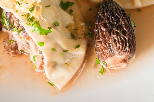 Shiitake and Morel Ravioli Closeup
