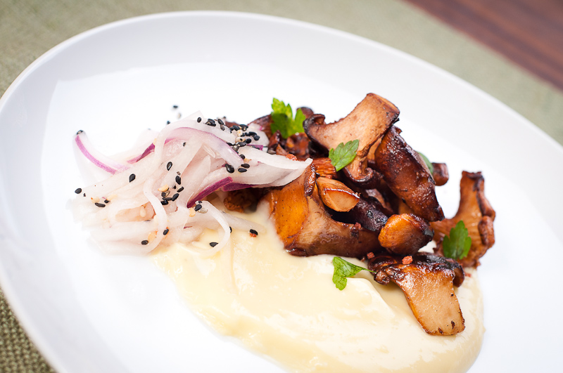 Chanterelle Mushrooms, Corn Sauce, Asian Pear Slaw
