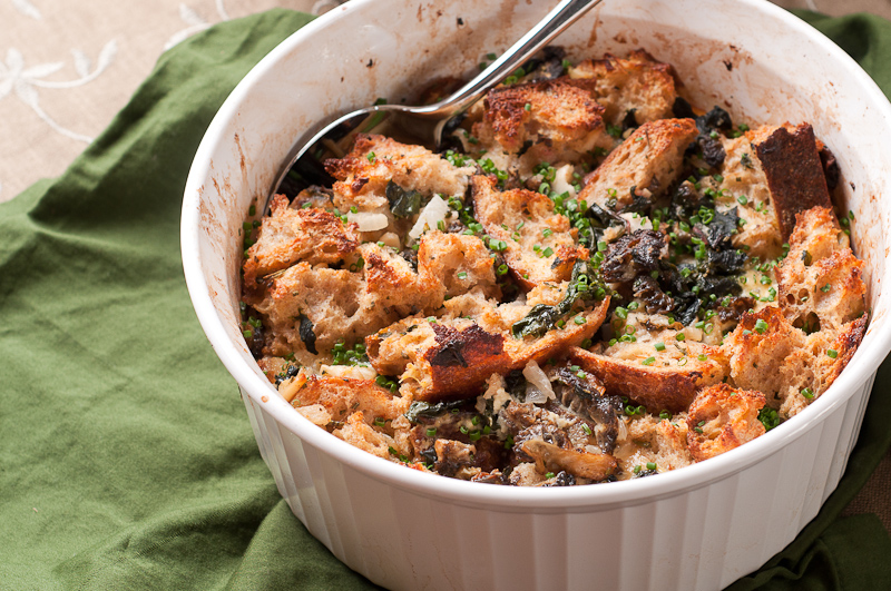 Savory Morel Bread Pudding