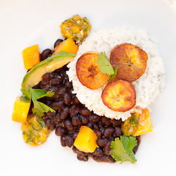 Coconut Rice with Black Beans, Plantains, and Mango Salsa Small