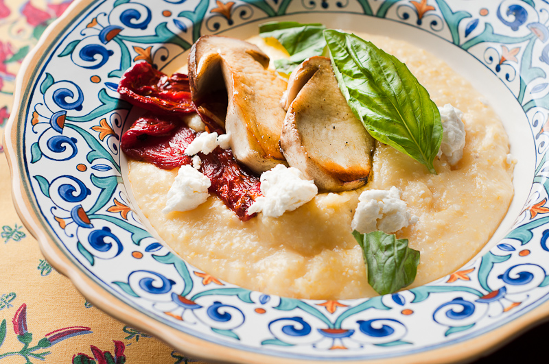 Polenta with Porcini, Oven Roasted Tomatoes, and Chevre