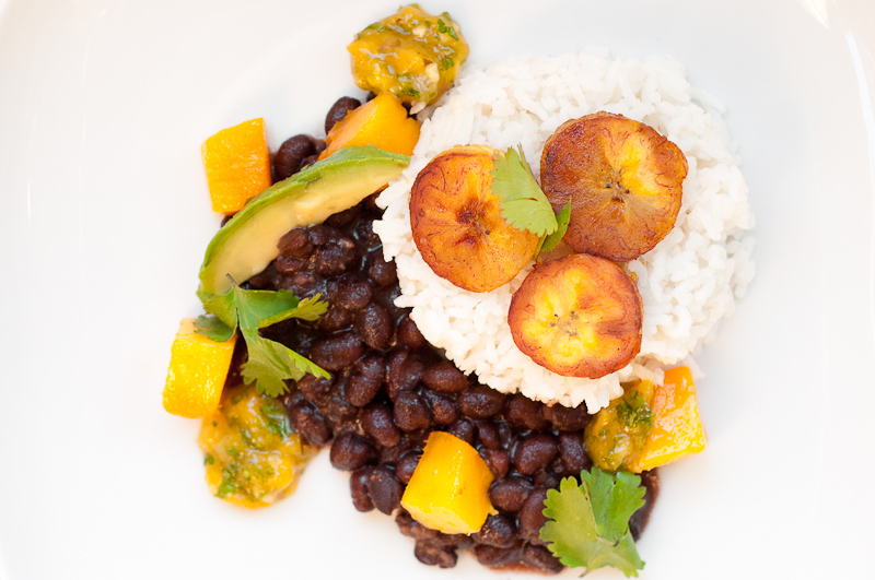 Coconut Rice with Black Beans, Plantains, and Mango Salsa