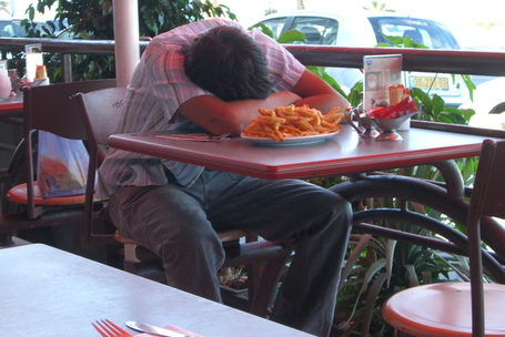 Asleep in the French Fries After A Long Night of Rosh Hashanah Partying in Tel Aviv