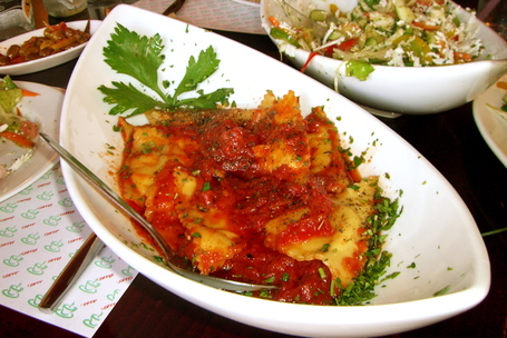 Delicious ravioli at Jovani restaurant in Tiberias, Israel
