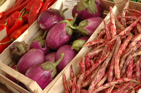 Hot Peppers, Eggplant and Borlotti Beans