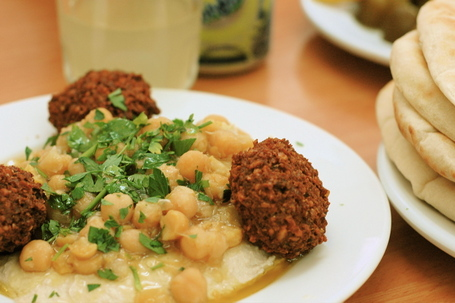 Hummus with Chickpeas and Falafel at Taami in Jerusalem