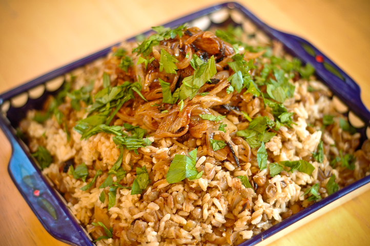 Mujadara (Rice, Lentils and Caramelized Onion Pilaf)