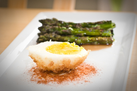 Panko-Crusted Egg With Cherry Smoked Asparagus, Smoked Paprika, And Sherry Gastrique