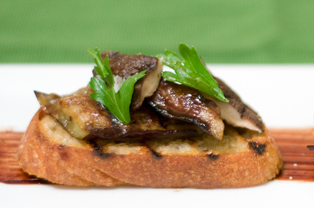Grilled Eggplant And Shiitake Bruschetta