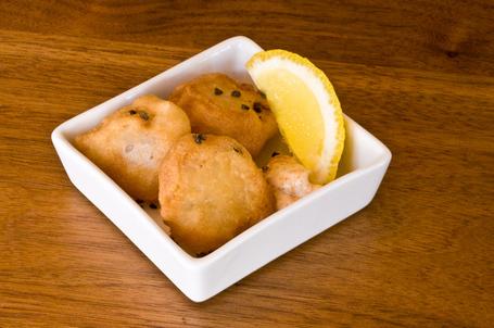 Lychee tempura, with spicy mayo and black sea salt