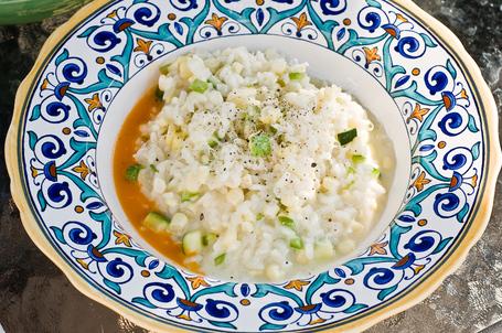 Summery risotto with corn, zucchini, and tomato oil