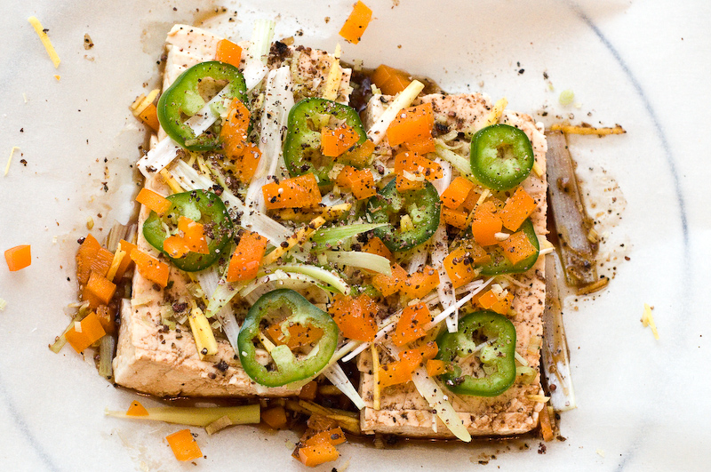 Tofu in the style of southeast asian steamed fish vegetarian the tofu all seasoned and ready for wrapping forumfinder Images